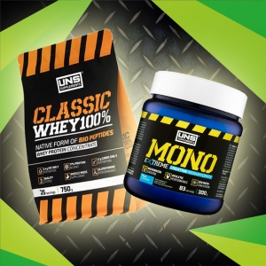 Zestaw UNS Classic Whey 100% 750g + UNS MONO Extreme Creatine Monohydrate 300g